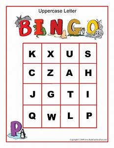 uppercase letters bingo game english for kids pinterest With letter bingo game
