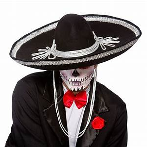 Black Sombrero Hat Day Of The Dead Mexican Bandit Fancy ...