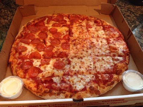 Classic Pizza Cut In Squares With Extra Ranch To Die For