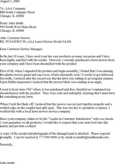 sample complaint letter  poor customer service read