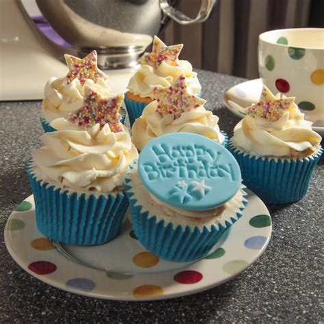birthday cupcake box of 6 blue happy birthday cupcakes