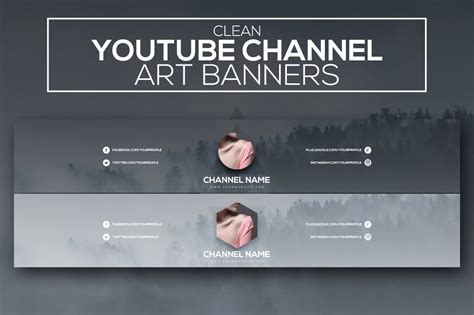 clean youtube channel art banners youtube templates