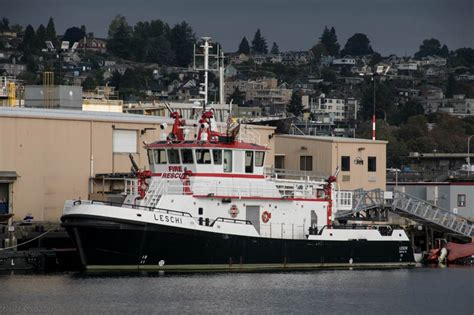 Boat Fire Seattle by Seattle Fireboats