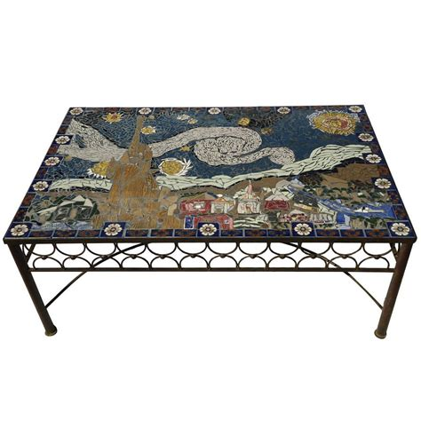studio mid century mosaic tile coffee table gogh style