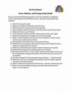 Do You Know  Force  Motion  And Energy Study Guide