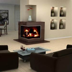 Decor: Corner Gas Fireplace With Wooden Floor And White