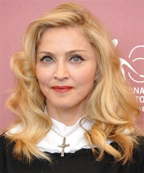 madonna long wavy casual hairstyle light honey blonde