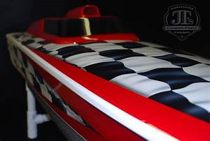 Airbrushed Rc Boat With Checkered Flags