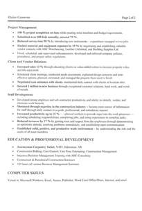 construction manager resume template construction manager resume exle sle
