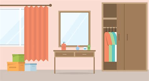 flat design vector room illustration