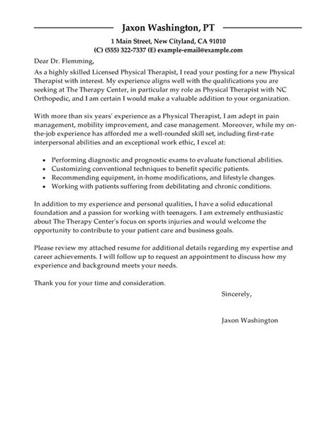 best physical therapist cover letter exles livecareer