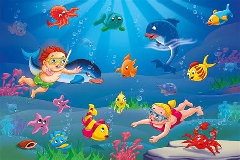 sealife wallpaper and illustrated sealife wallpaper for