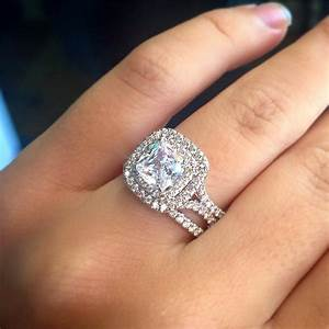 Uneek lvs914 065ctw double cushion halo engagement ring for Double band diamond wedding ring