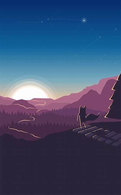 Wallpapers Forest Iphone Fox Minimalism Illustration Plus