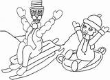 Sledding Coloring Sled sketch template