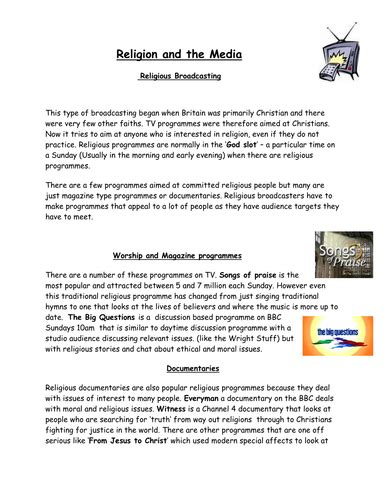 Religion And The Media Worksheet Teaching Resources