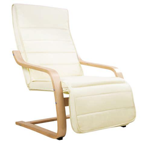 Birch Bentwood & Fabric Arm Chair w/ Footrest Beige   Buy