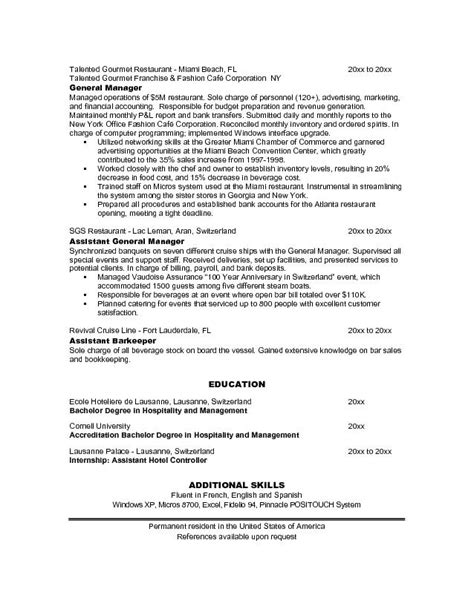 resume sle for restaurant resume cover letter exles