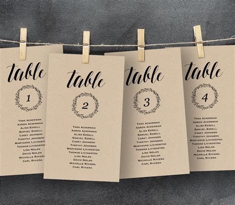 wedding seating chart template seating plan table card