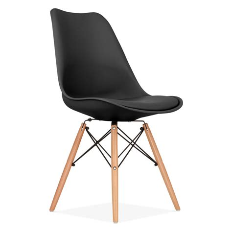 dining chair in black with dsw style wood legs