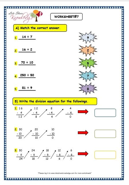 division as repeated subtraction year 2 worksheets