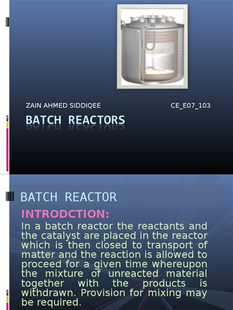batch reactors chemical reactor industrial processes