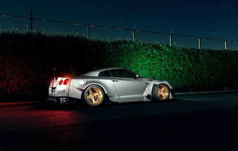 wallpaper dark light nissan gt  car sport  rear