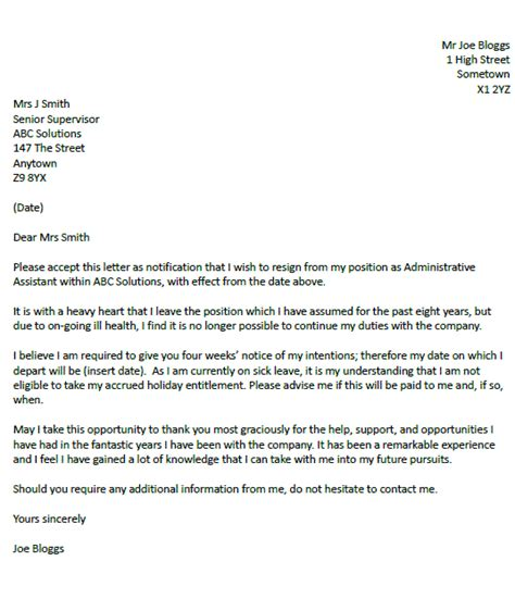 resignation letter  due  illness resignletterorg
