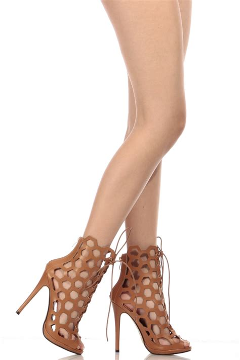 peep toe high heel boots faux leather netted lace up peep toe heels cicihot