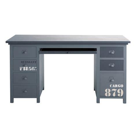 bureau gris metal dans meuble bureau en bois gris l 150 cm cargo maisons du monde