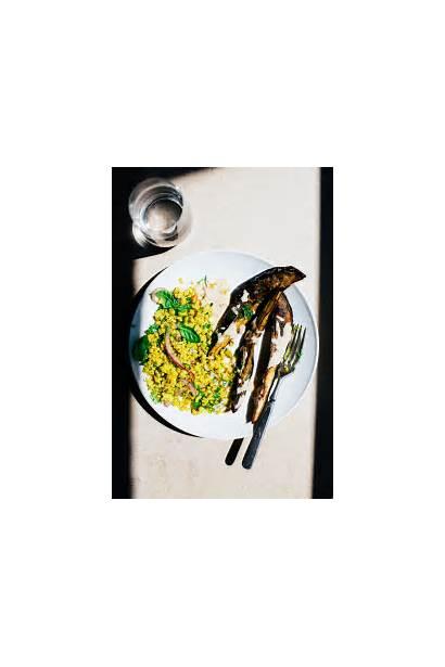 Eggplant Roasted Pistachio Wedges Millet Herbed Golubka