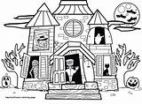 Haunted Coloring Pages Halloween Houses Colouring Spooky Drawing Preschool Pumpkin Open sketch template