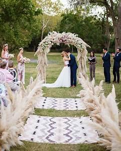 Texas Wedding Featuring Pampas Grass Decor Aisles