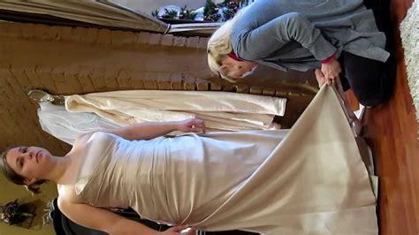 cutting  train   wedding dress  making straps