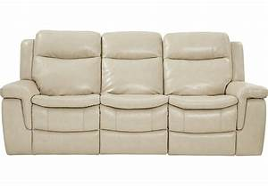Milano stone leather reclining sofa reclining sofas beige for Sectional sofa with reclining ends