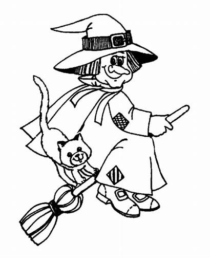 Coloring Witch Halloween Cat Broom Flying Pages