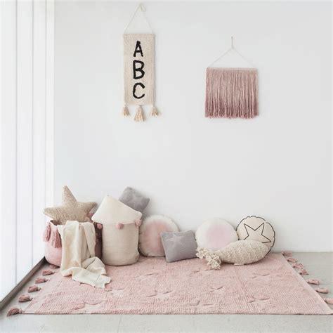 tapis lavable hippy stars vintage rose naturel chambre