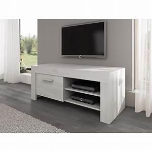 Tv 120 Cm : rome meuble tv contemporain d cor ch ne blanc 120 cm achat vente meuble tv rome meuble tv ~ Teatrodelosmanantiales.com Idées de Décoration