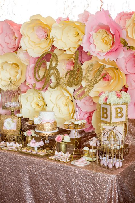 karas party ideas pink gold butterfly baby shower