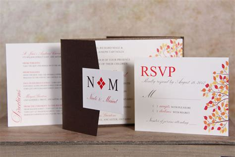 fall themed pocket wedding invitation wwwpapercreations