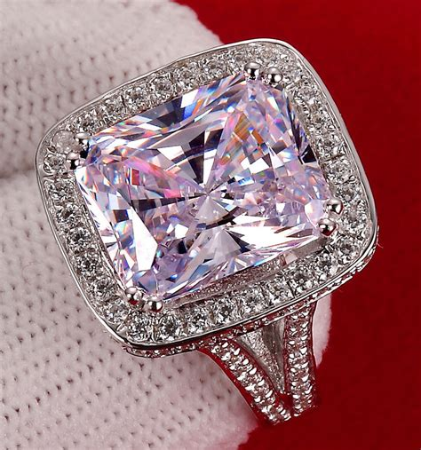 simulated engagement rings luxury 8 carat cushion cut halo nscd simulated engagement rings for exaggerated