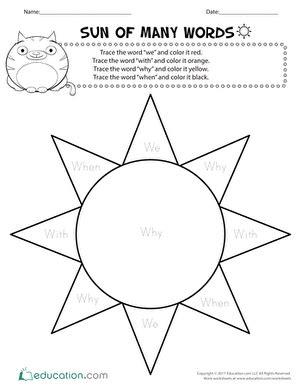 Sun of Many Words | Worksheet | Education.com | Free ...