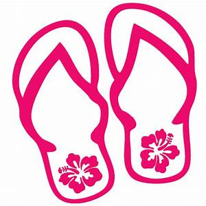 Flip Flops with Hibiscus Flowers Decal - All About Flip Flops