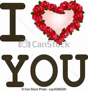 Heart with roses i love you. vector template valentine ...