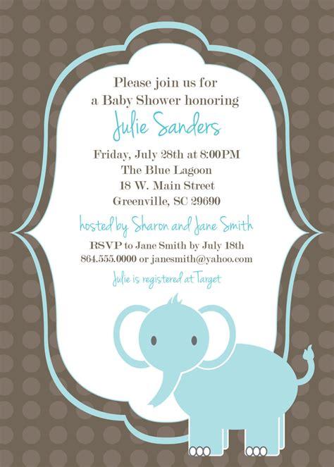 printable baby shower invitation elephant boy light blue