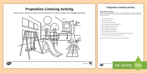 Preposition Listening Worksheet  Worksheet  Prepositions, Listening