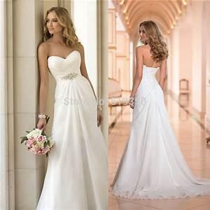 vestido de noiva 2015 new summer chiffon white beach With cheap summer wedding dresses