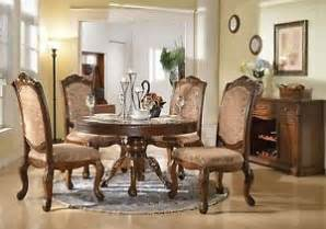 traditional walnut brown 5 piece round formal dining room