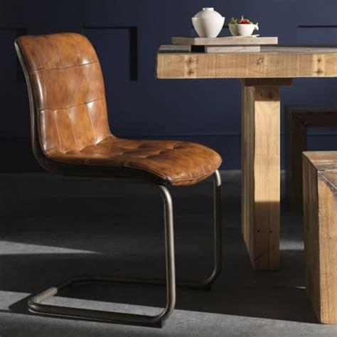 buy vintage leather effect brown dining chair metal
