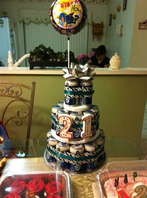 beer tower cake  st birthday  pinterest